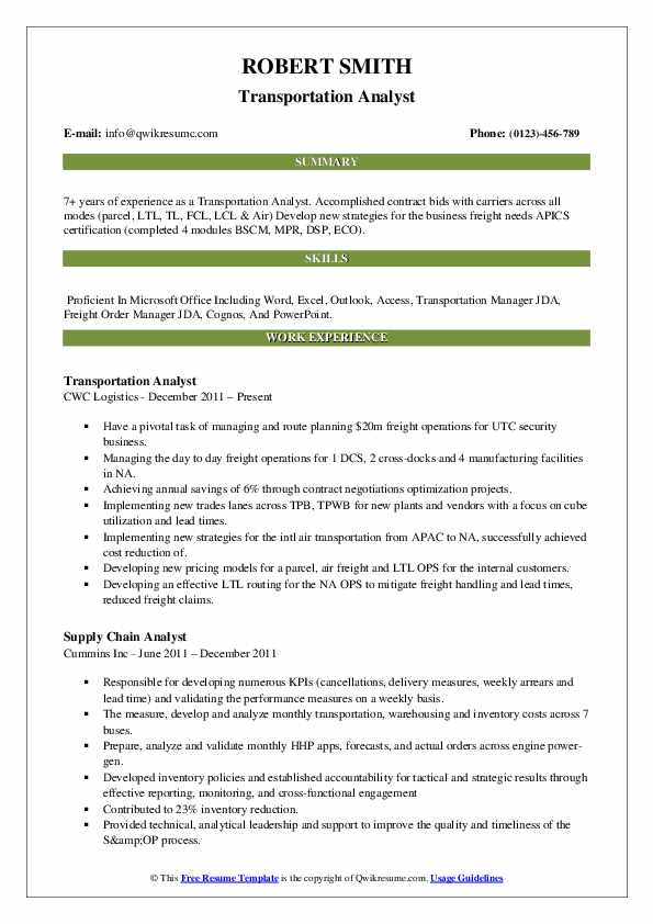 Transportation Analyst Resume Template