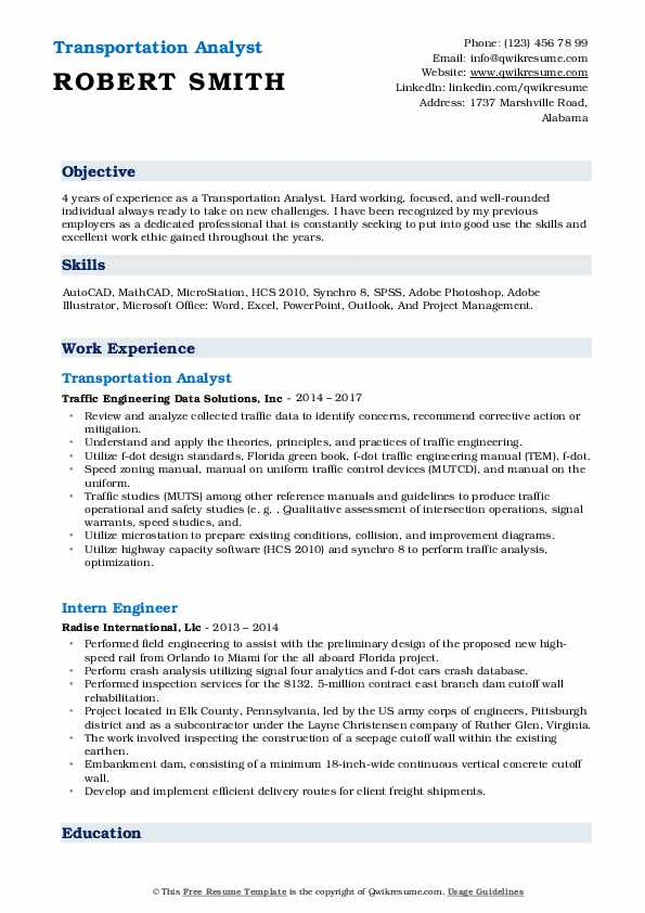 Transportation Analyst Resume Example
