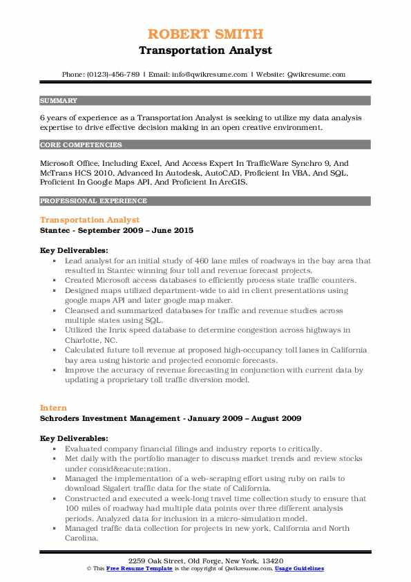 Transportation Analyst Resume Sample