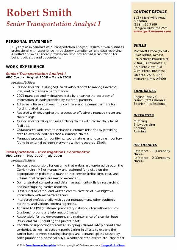 Senior Transportation Analyst I Resume Model