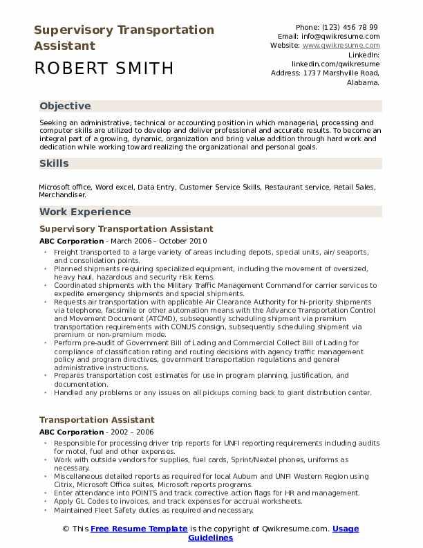 Supervisory Transportation Assistant Resume Example