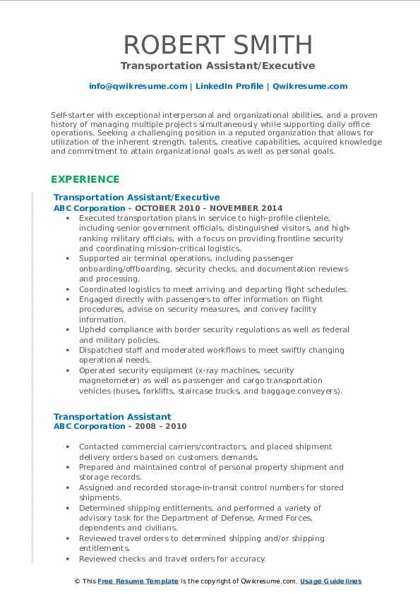Transportation Assistant/Executive Resume Format