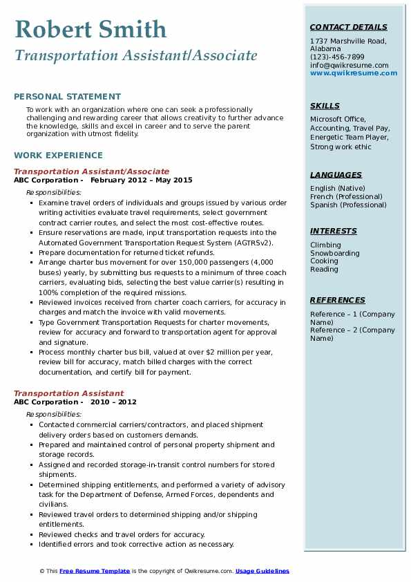 Transportation Assistant/Associate  Resume Sample