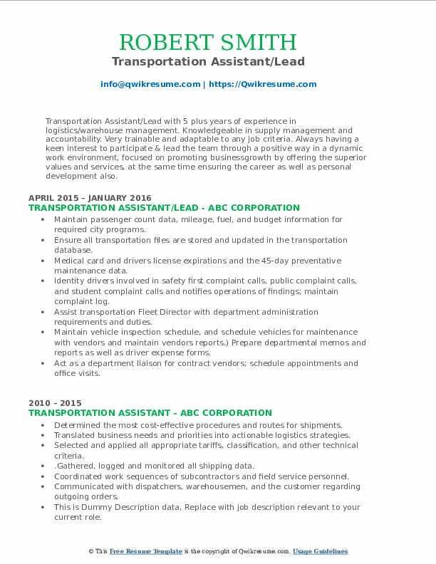 Transportation Assistant/Lead Resume Format