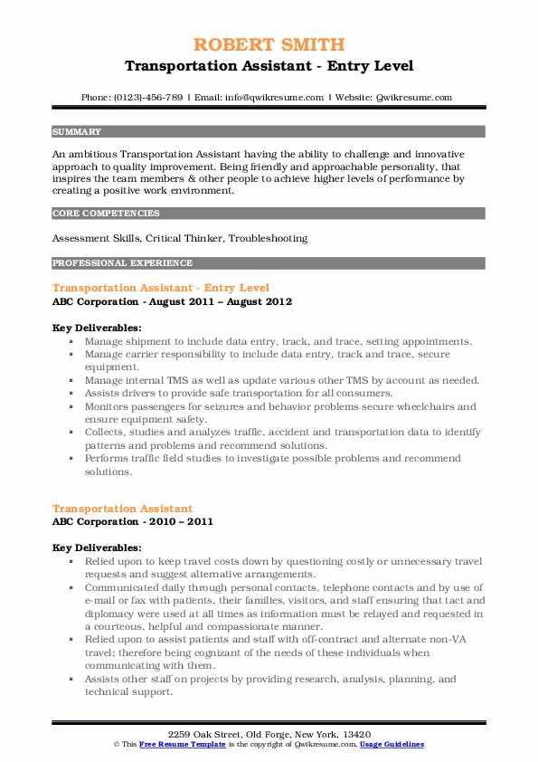 Transportation Assistant - Entry Level Resume Model