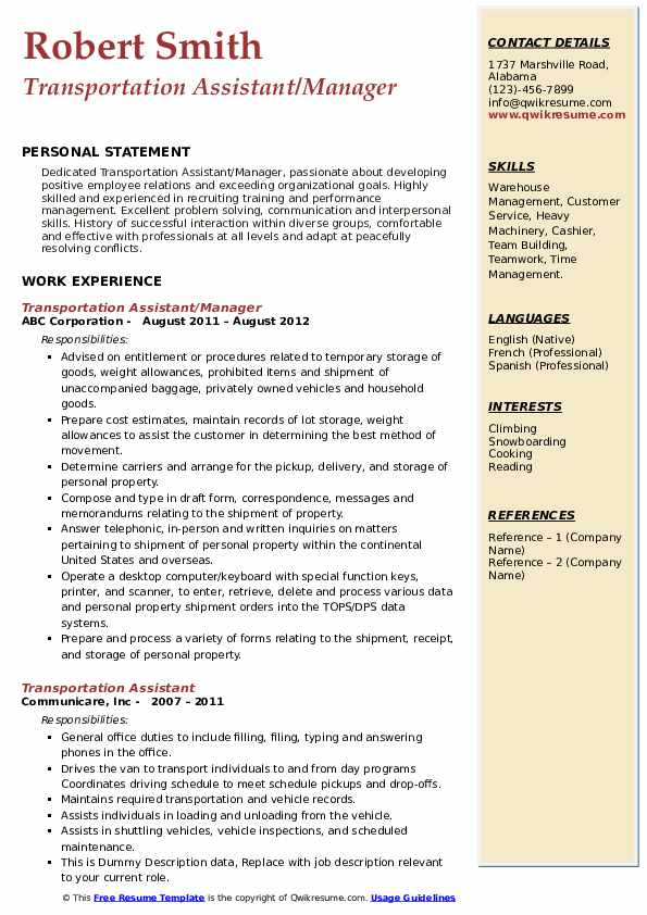 Transportation Assistant/Manager Resume Example