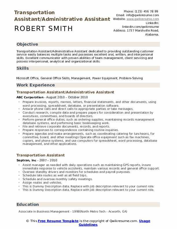 Transportation Assistant Resume example