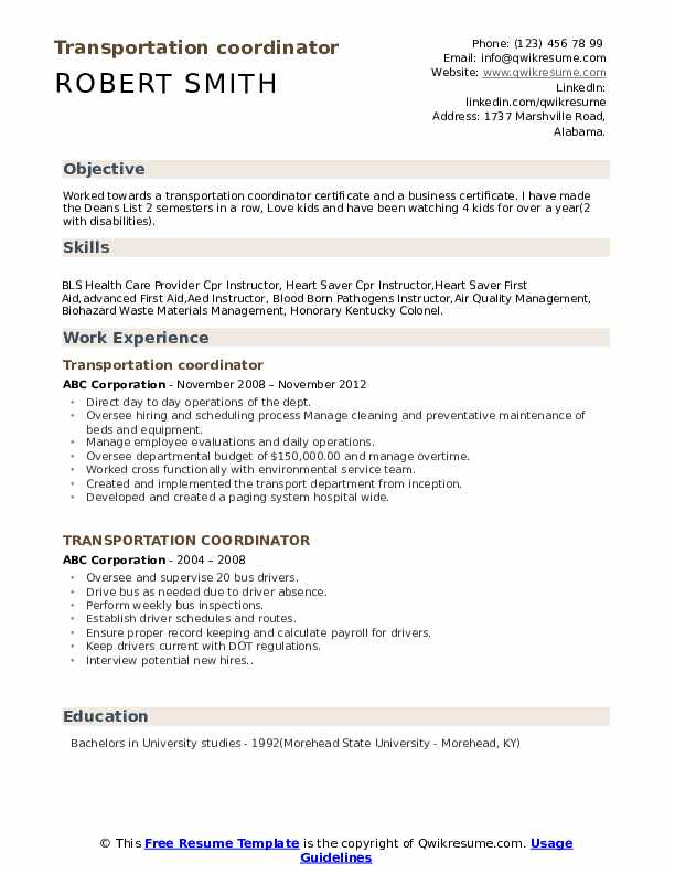 Transportation Coordinator Resume Samples | QwikResume