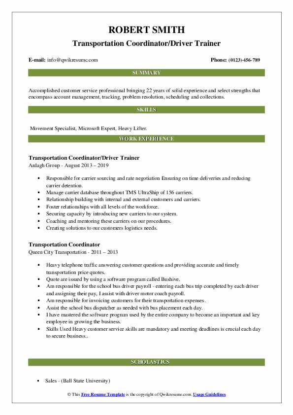 Transportation Coordinator/Driver Trainer Resume Example