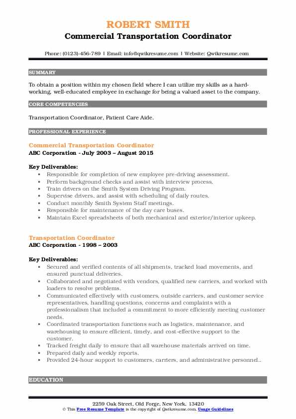 transportation coordinator resume samples