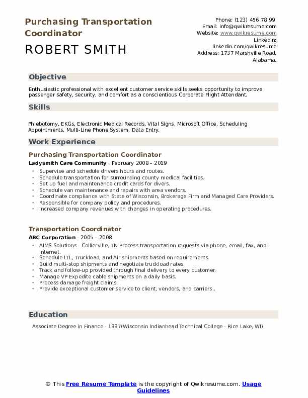 transportation coordinator resume samples
