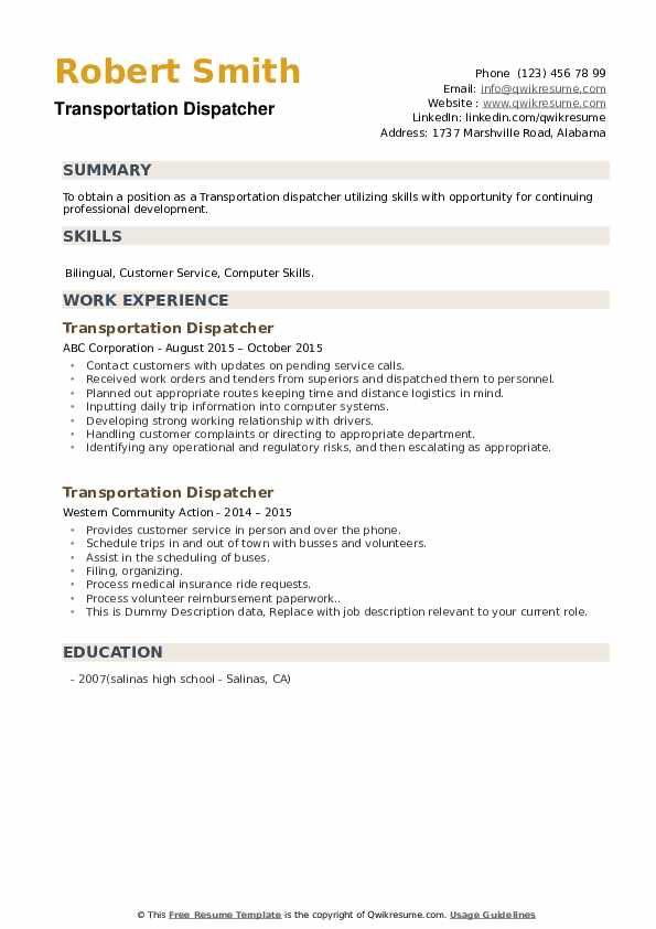 Transportation Dispatcher Resume example
