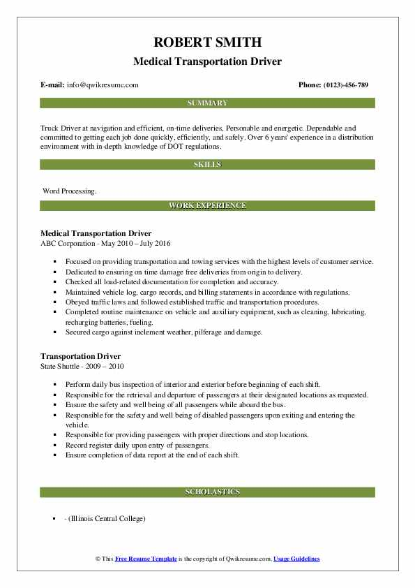 Resume For Transportation Driver | Summary For Resume ...