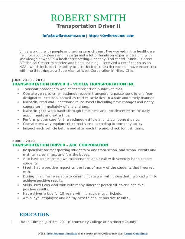 Transportation Driver II Resume Template