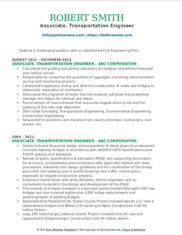 transportation engineer resume samples