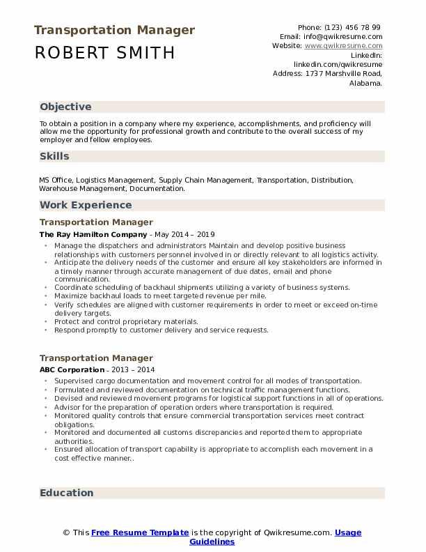 Transportation Manager Resume Format