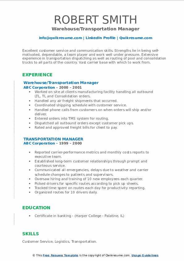 Transportation Manager Resume Samples | QwikResume