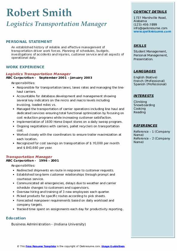 Transportation Manager Resume Samples | QwikResume