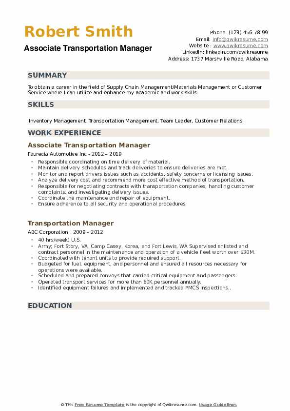 Transportation Manager Resume Samples Qwikresume
