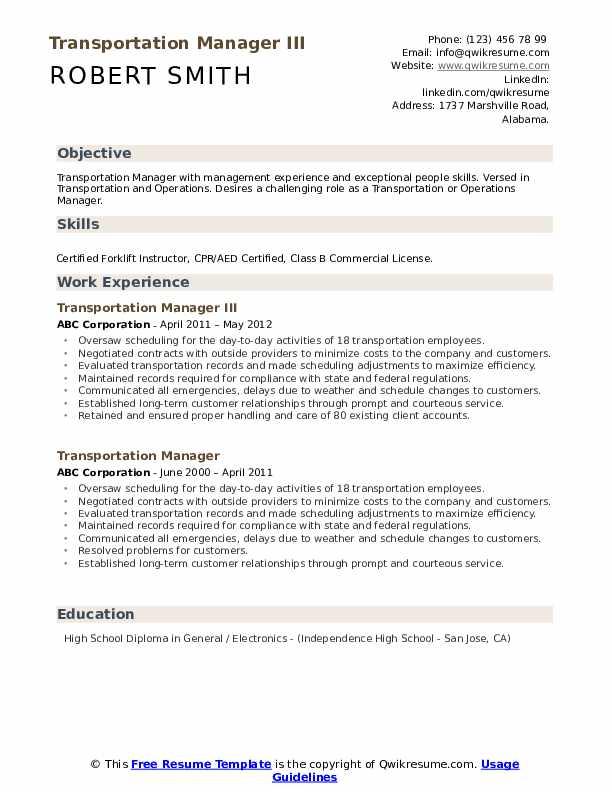 Transportation Manager III Resume Model
