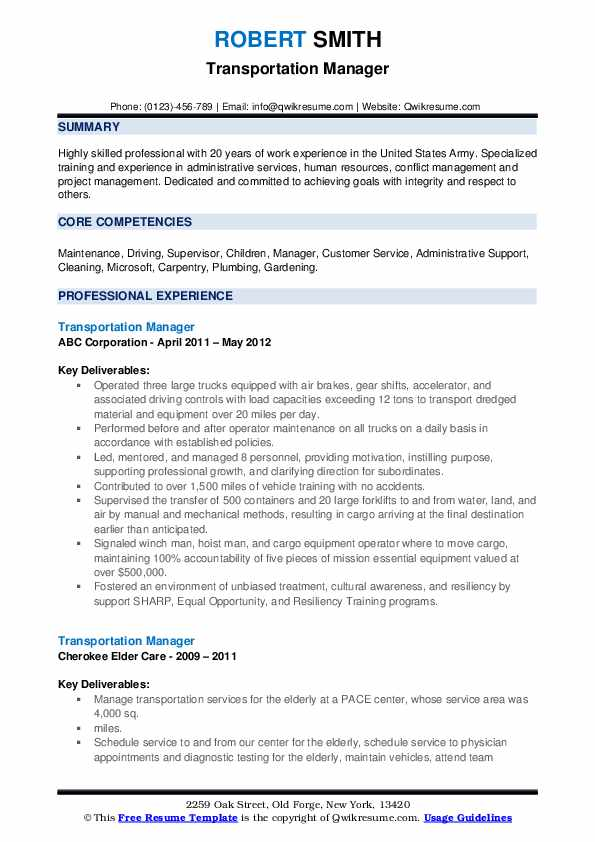 Transportation Manager Resume example