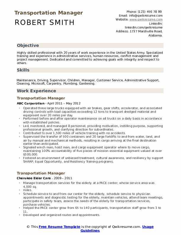 Cargo Agent Resume Model