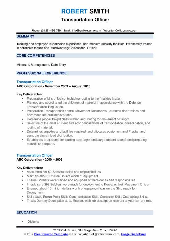 Transportation Officer Resume example