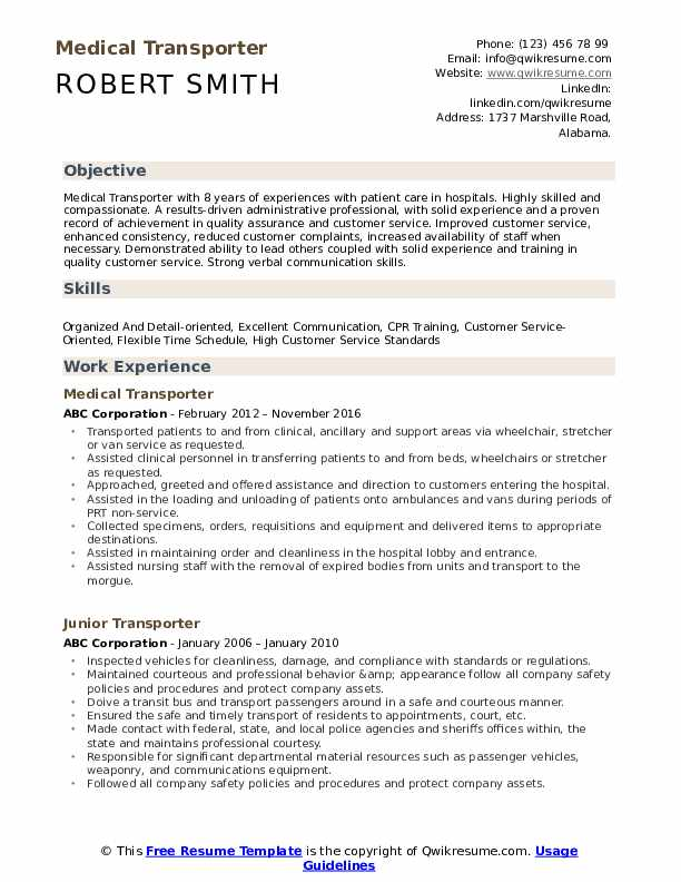 Medical Transporter Resume Template
