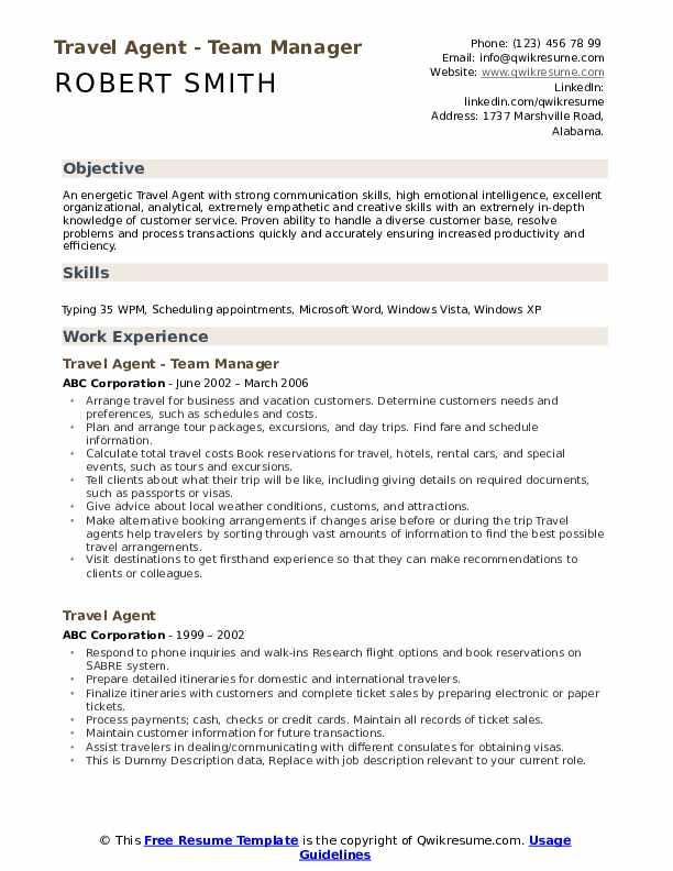 Travel Agent Resume Samples Qwikresume