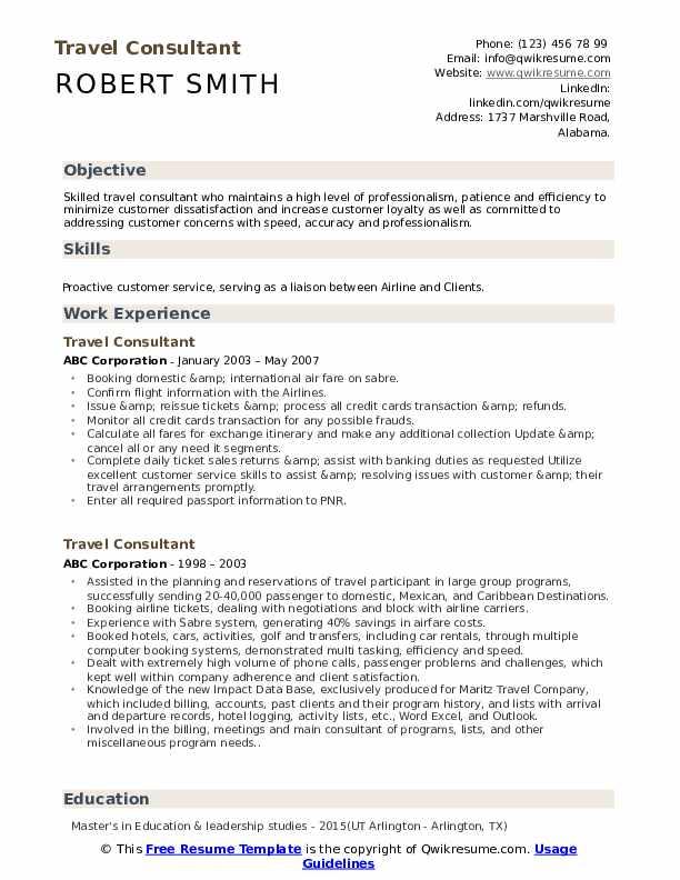 Travel Consultant Resume Template