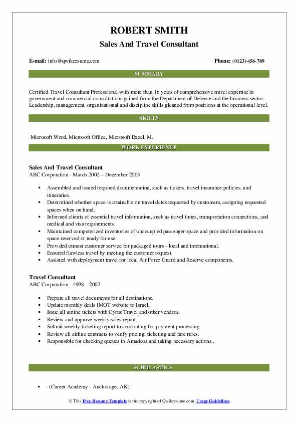 Sales And Travel Consultant Resume Example