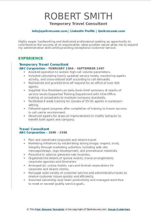 Temporary Travel Consultant Resume Model