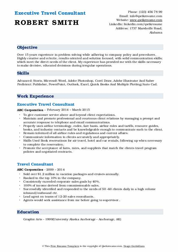 Executive Travel Consultant Resume Format