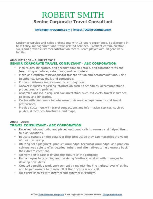 Senior Corporate Travel Consultant Resume Format