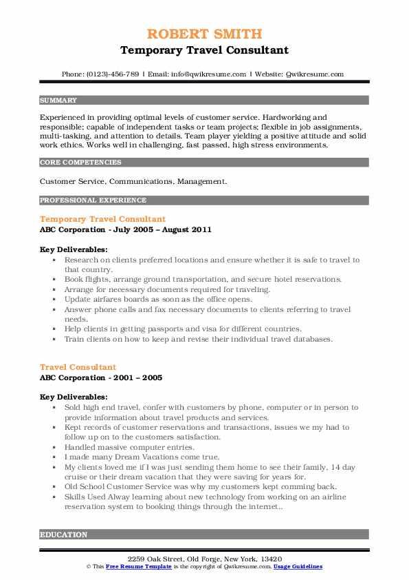 Temporary Travel Consultant Resume Format