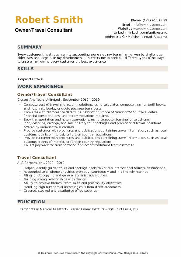 Owner/Travel Consultant Resume Example