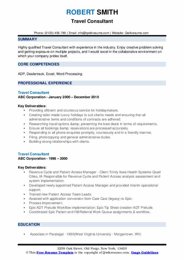 Travel Consultant Resume example