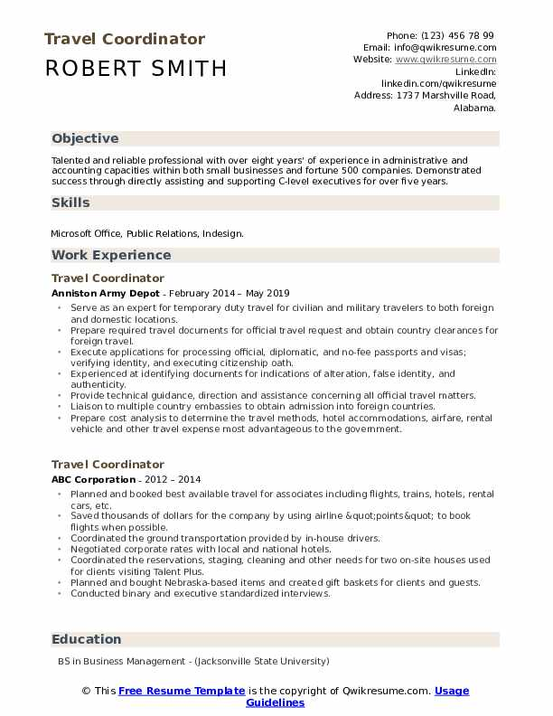 Travel Coordinator Resume Format