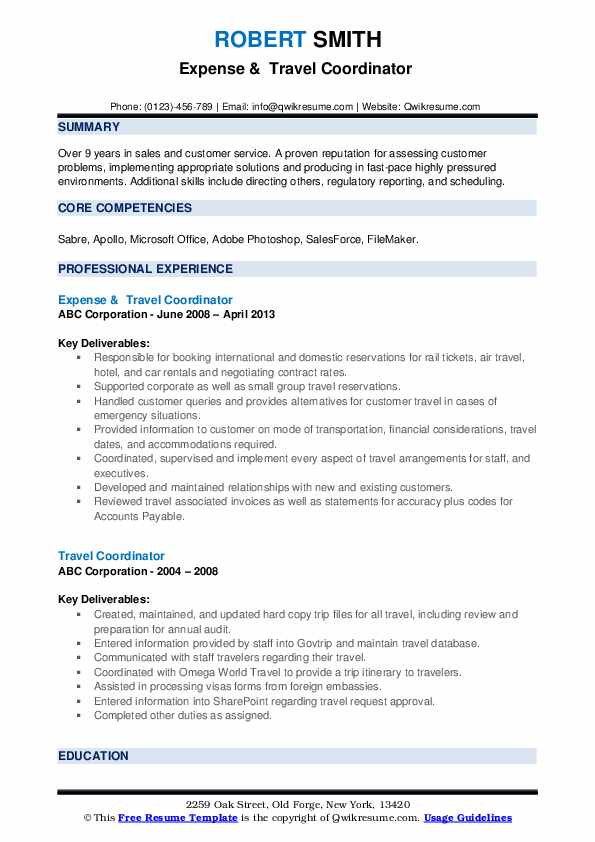 Expense &  Travel Coordinator  Resume Format