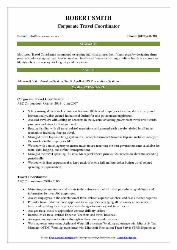Corporate Travel Coordinator Resume Template
