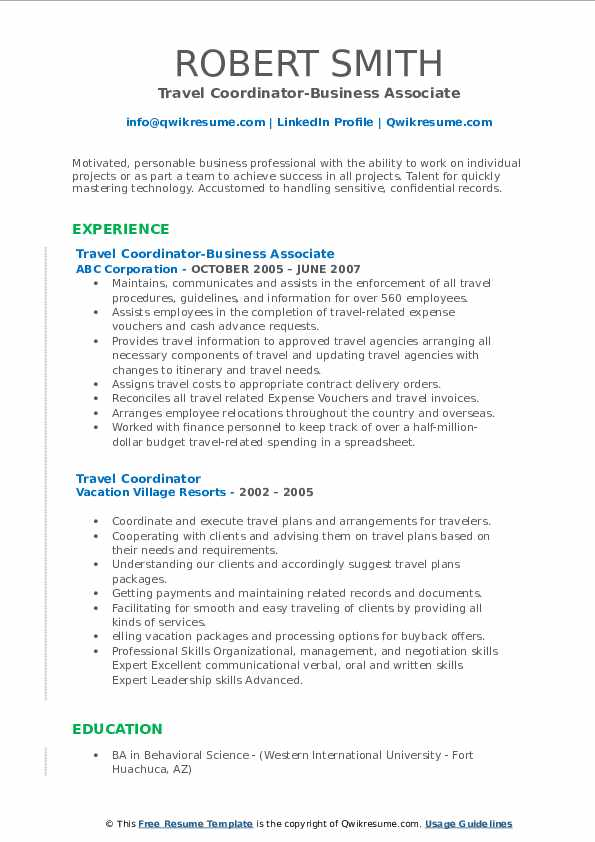 Travel Coordinator-Business Associate Resume Template