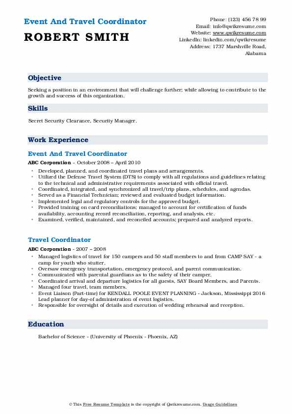 Event And Travel Coordinator Resume Template