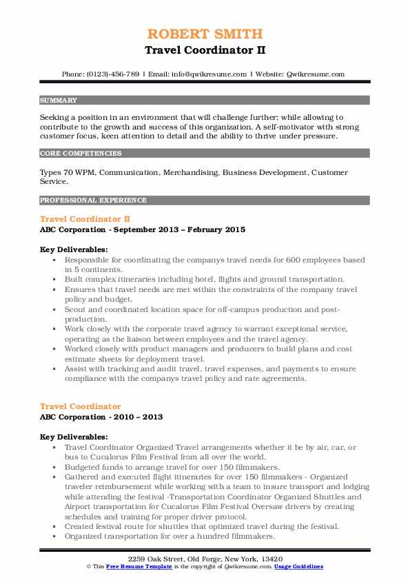 Travel Coordinator II Resume Example