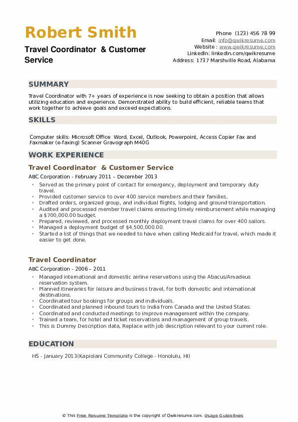 Travel Coordinator  & Customer Service Resume Model