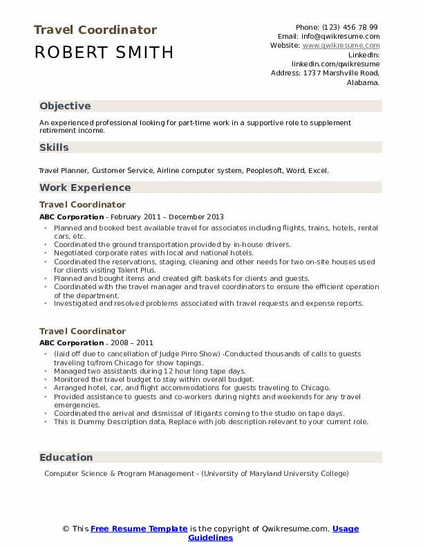 Travel Coordinator Resume example