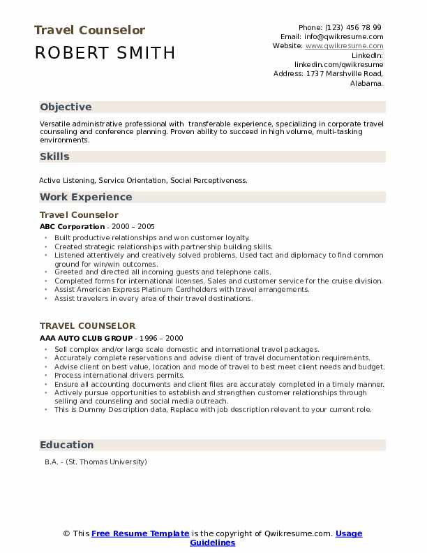 Travel Counselor Resume example