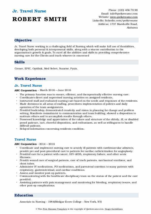 travel nurse resume samples