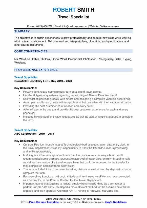 Travel Specialist Resume example