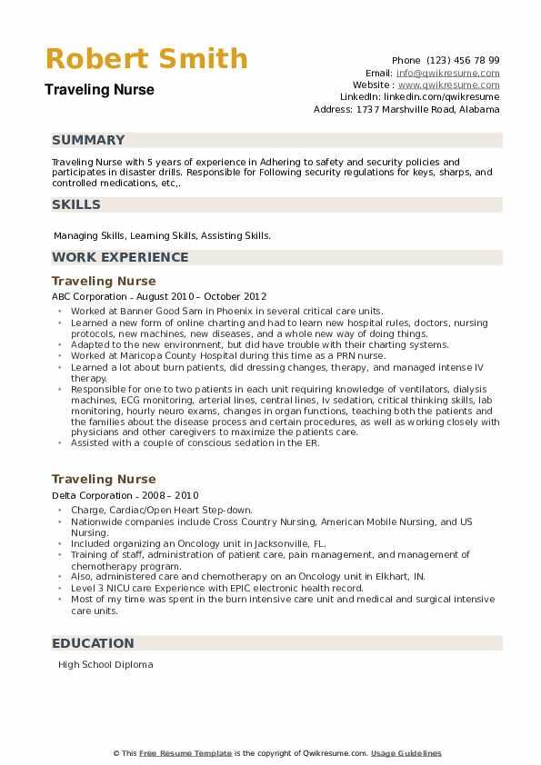 Traveling Nurse Resume example