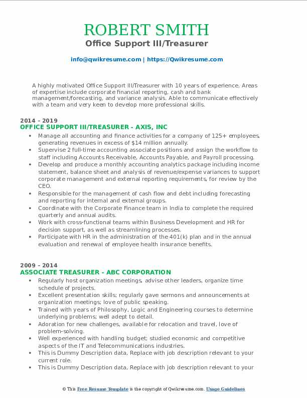 Office Support III/Treasurer Resume Model
